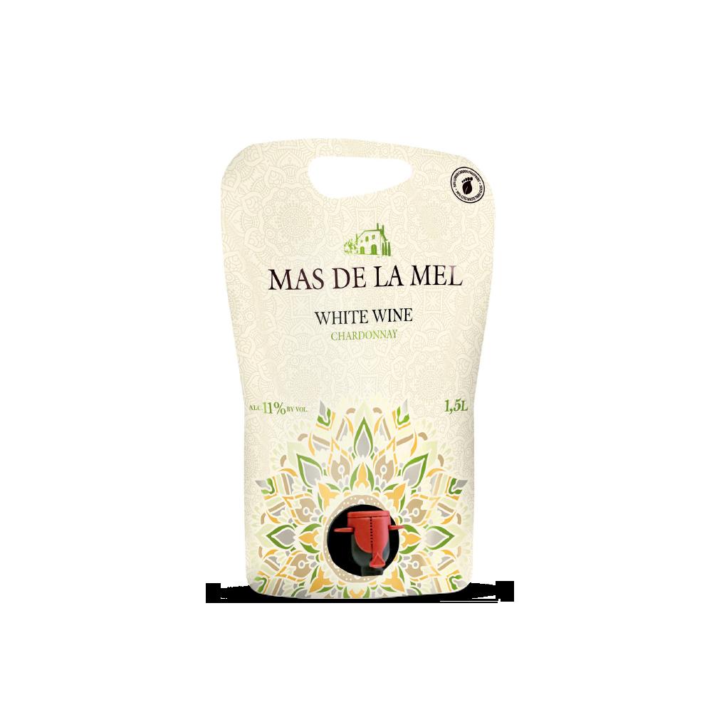 Vino blanc Choardonnay Mas de la Mel formato pouch